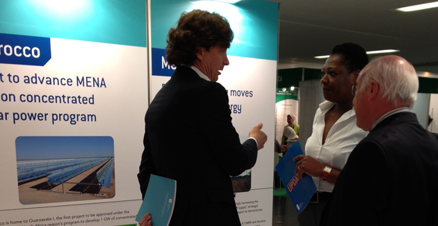 CIF Admin Unit's program manager, Funke Oyewole (extreme right), talking to participants at the Carbon Expo in Barcelona.