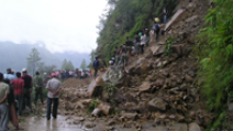 A landslide blocking part of a road in Sati Farwest, Nepal. - Photo: Flickr/Nyaya Health