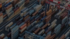 Afternoon aerial view of cargo shipping containers stacked on docks, in Los Angeles, US, 18/08/2016. Credit: trekkerimages / Alamy Stock Photo.